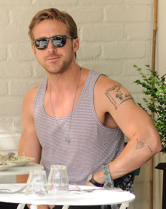 Actor Ryan Gosling has lunch at Feels Restaurant in Noho