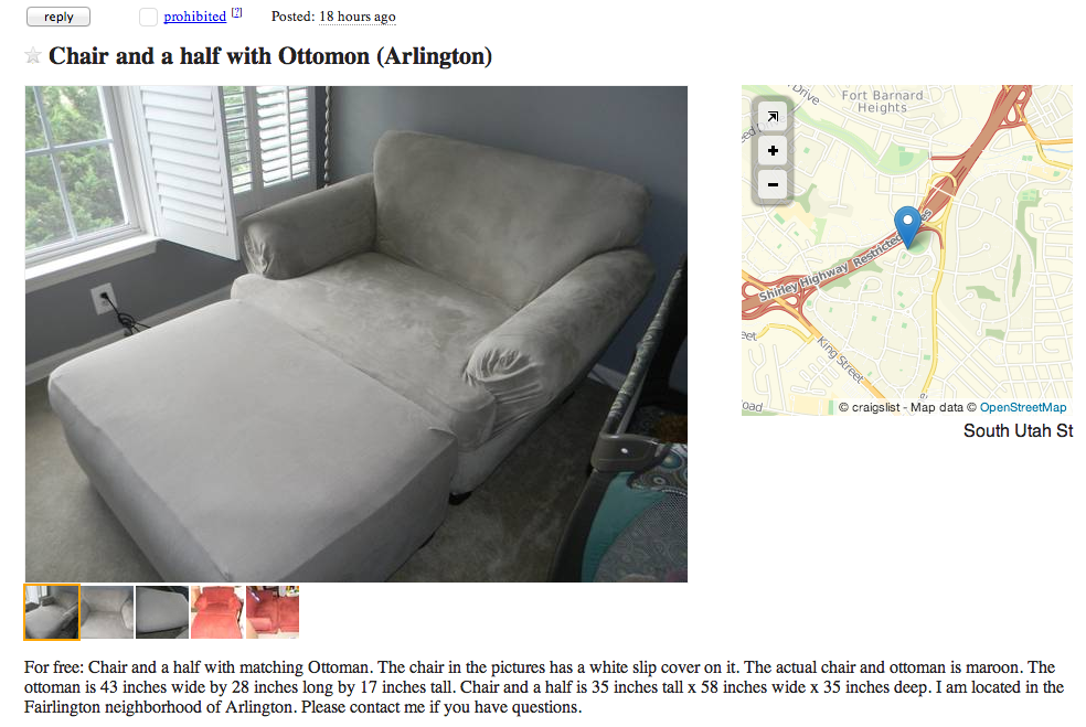 Craigslist free stuff best of worst of for Craigslist dc free furniture